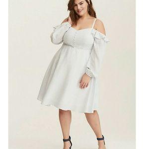 NWT Torrid Striped Cold Shoulder Challis Dress 2